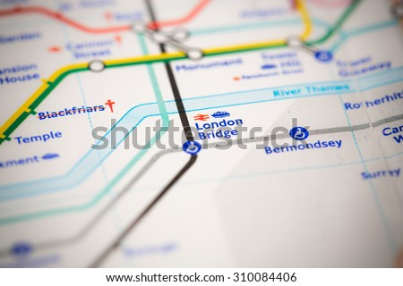 View of London Bridge station on a London subway map. - stock photo