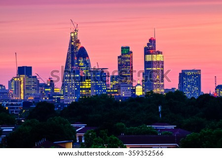 View of London cityscape including the City hall and the Shard skyscraper from Tower Bridge - stock photo