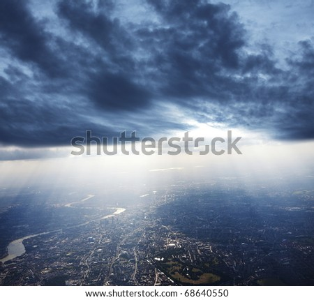 View of London from above - stock photo