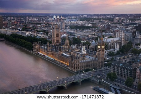 view of London with the Big Ben, the clock tower, bell, Palace of Westminster - stock photo