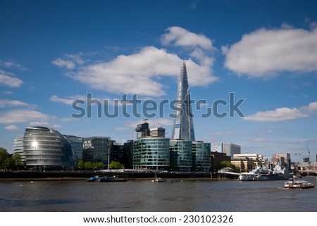 View of London with the Mayors office and the Shard in the skyline