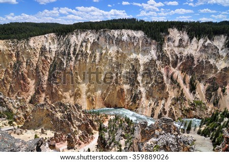 View of Lookout Point ,YELLOWSTONE NATIONAL PARK, USA  - stock photo
