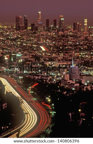 View of Los Angeles at twilight from Mulholland Drive, Los Angeles, California - stock photo