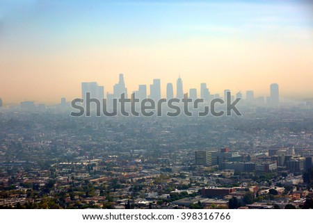 View of Los Angeles from the height of Los Angeles is the largest city of the state of California.