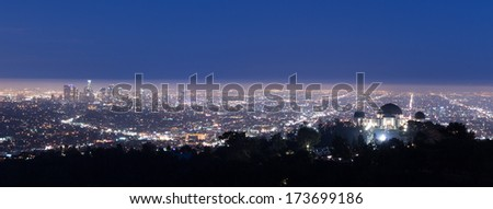 View of Los Angeles from the Hollywood hills - stock photo
