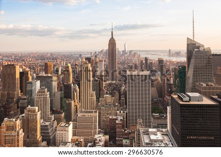 View of lower Manhattan in New York - USA - stock photo