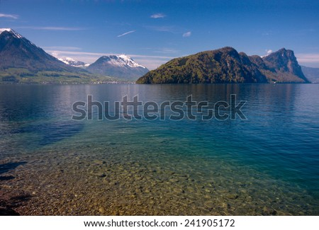View of Lucerne lake with swiss alps in spring, Switzerland  - stock photo