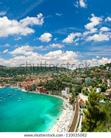 view of luxury resort and bay of Cote d'Azur. Villefranche by Nice, french riviera - stock photo