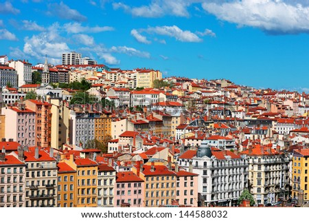 view of Lyon city with blue sky, France - stock photo