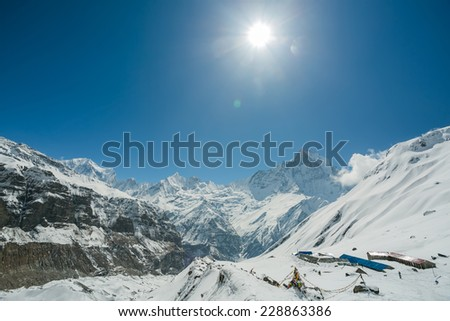 View of Machapuchare (Fish Tail) mountain in Annapurna region of Himalayas. - stock photo