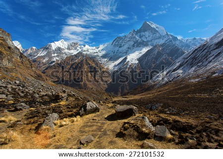 View of Machhapuchchhre mountain - Fish Tail in English is a mountain in the Annapurna Himalya, Nepal - stock photo