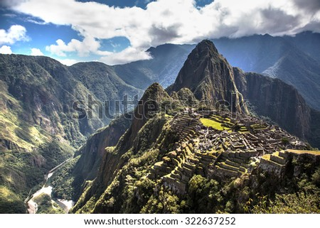 View of Machu Picchu in the sacred valley in Peru, South America - stock photo