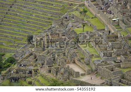 View of Machu Picchu taken from Wayna Picchu (Huayna Picchu). - stock photo