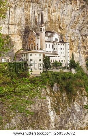 View of Madonna della Corona Sanctuary - stock photo