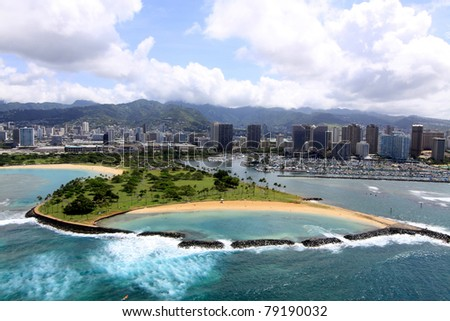 View of Magic Island beach park in Hawaii, from helicopter. - stock photo