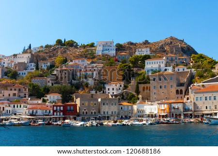 View of main Capitol in Hydra island in Greece Saronikos Gulf