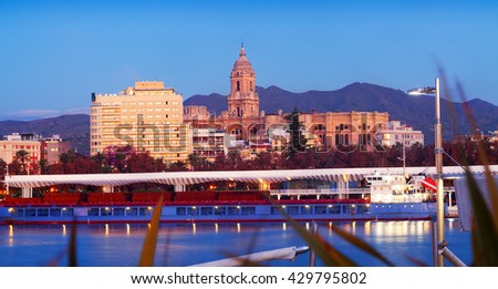View of Malaga  from Port in  evening. Andalusia, Spain - stock photo