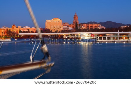 View of Malaga  from Port in  evening time.     Spain - stock photo