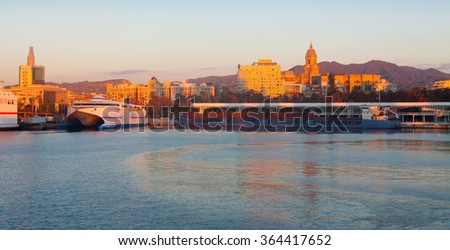 View of Malaga  from Port in  morning.     Spain - stock photo