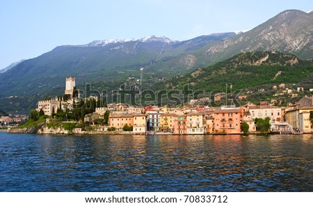 View of Malcesine from side  Garda lake at evening, Italy.