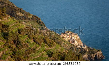 View of Manarola and the surrounding terraced vineyards overlooking the sea. Italy, Unesco World Heritage Site - stock photo
