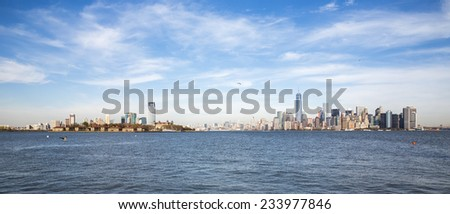 View of Manhattan and Brooklyn from the Statue of Liberty.  - stock photo