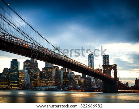 View of Manhattan at sunset from Brooklyn, New York City - stock photo