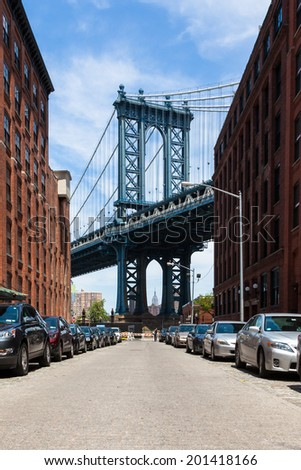 View of Manhattan bridge from Brooklyn - New York - USA