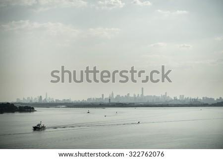 View of Manhattan skyline - stock photo