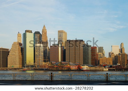View of Manhattan Skyline from Brooklyn Piers