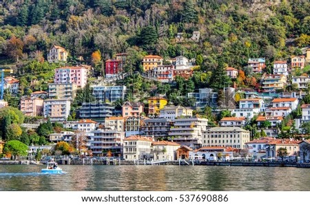View of many color buildings in , Como lake, Italy.