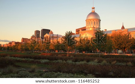 VIew of Marche Bonsecours in Old port in Montreal, Quebec by a nice early morning during fall season - stock photo