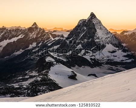 View of Matterhorn at sunset - stock photo