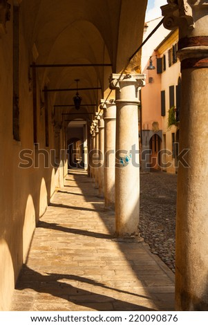 View of medieval street in padova, italy