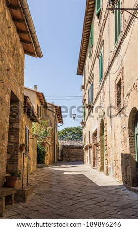 view of medieval town in Tuscany, Italy