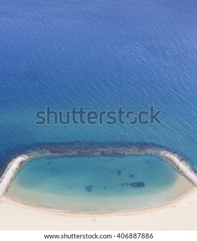 View of mediterranean coastline from top of the Rock, Gibraltar, U.K. - stock photo