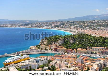 View of mediterranean resort, Nice, Cote d'Azur, France. - stock photo