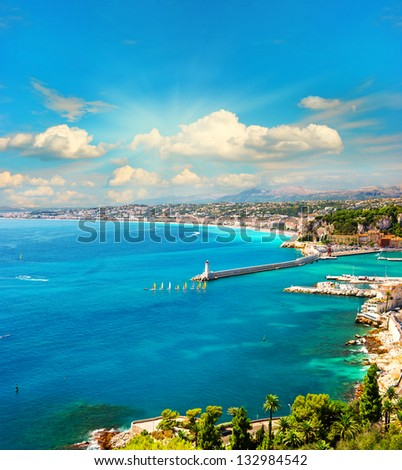view of mediterranean resort, Nice, Cote d Azur, France. french riviera. turquoise sea and perfect sunny blue sky - stock photo