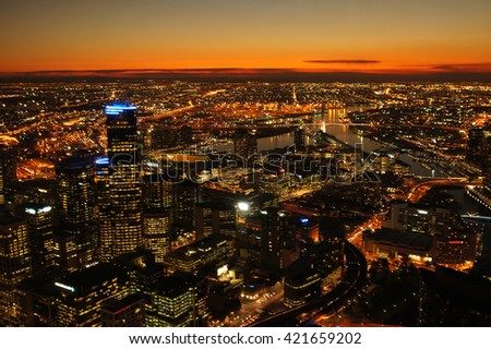 View of Melbourne at Twilight. - stock photo