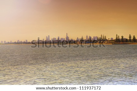 view of Melbourne cityscape in the sunset