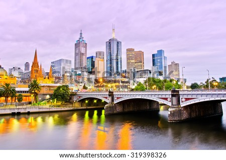 View of Melbourne skyline at dusk - stock photo