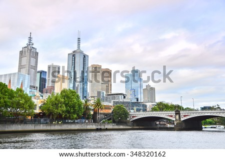 View of Melbourne skyline at twilight - stock photo