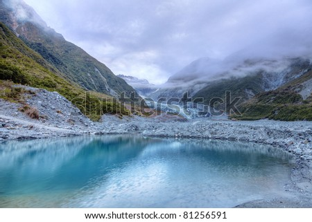 View of meltwater pool at the terminus of Fox Glacier - stock photo