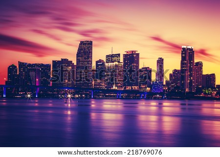 View of Miami at sunset, special photographic processing, USA - stock photo