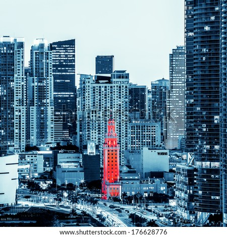 View of Miami downtown at night, special photographic processing - stock photo