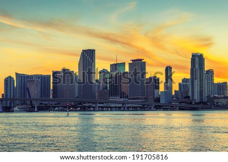 View of Miami, special photographic processing - stock photo