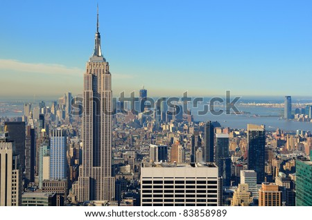View of midtown Manhattan with landmark buildings in New York City. - stock photo