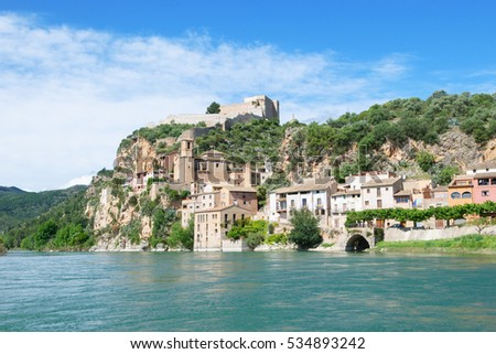 View of Miravet, village of the province of Tarragona, Spain, on the banks of the river ebro