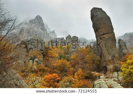 View of misty fog mountains in autumn, Crimea, Ukraine - stock photo