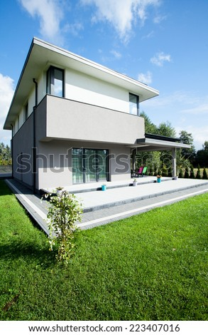 View of modern house during sunny day - stock photo